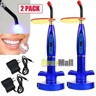 2Pack Dentist Dental Wireless Cordless LED Curing Light Lamp 10W 2000MW Blue