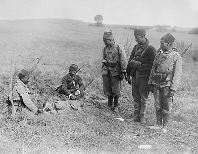 French Moroccan soldiers care for a wounded German 1914 World War I 8x10 Photo