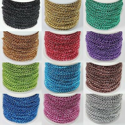 DIY Wholesale Multi Color 100 Meter Aluminum Link Chain Jewelr Finding 12 Colors