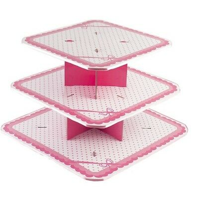 Dots Pink Cake Stand 3 Tiers Large