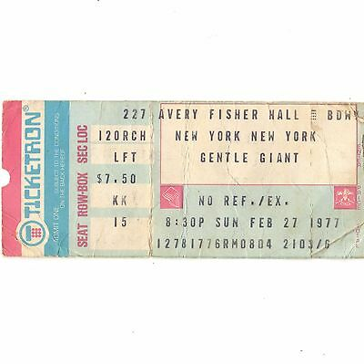 GENTLE GIANT Concert Ticket Stub NEW YORK 2/27/77 AVERY FISHER PLAYING THE FOOL