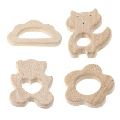 Wooden Baby Teething Relief Toy Nature Organic Cloud Baby Nursing Holder Teether