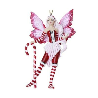AMY BROWN Fairy Ornament PEPPERMINT CANDY Winged Fairie Statue Christmas Decor