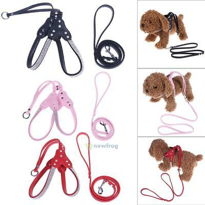 Dog Pet Puppy Bling Rhinestone Soft Fiber Harness Lead Leash Traction Rope Strap