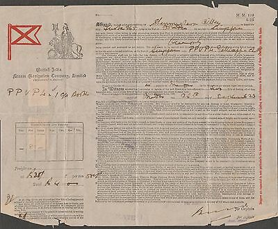 British India Steam Navigation Bill With Stamps