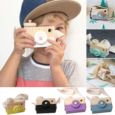 Cute New Kids Baby Wooden Camera Neck Hanging Photographed Props With Rope Toy