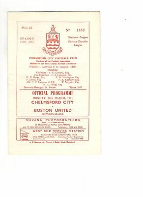 Chelmsford City v Boston United 1960 - 1961  Southern League