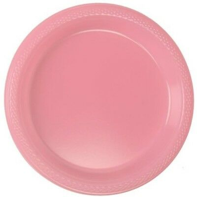 """7"""" Pink Pack Of 20 Plastic Plates - Pretty 177cm Official Party Product Amscan"""