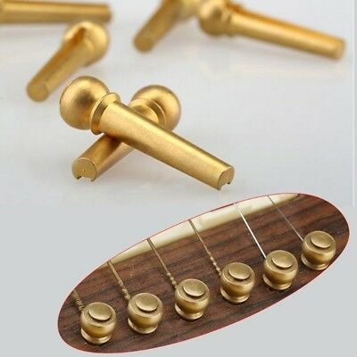 6Pcs Brass Guitar Bridge Pins End Pin for Folk Acoustic Guitar Accessories Parts