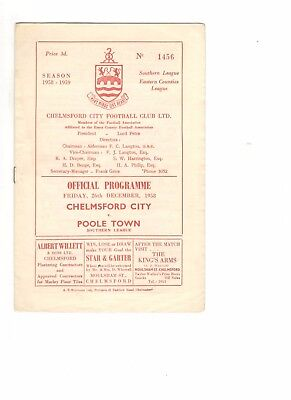 Chelmsford City v Poole Town 1958 - 1959  Southern League