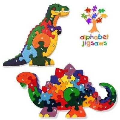 Alphabet Jigsaw Traditional Handcrafted Wooden Puzzles in Dinosaur or T-Rex