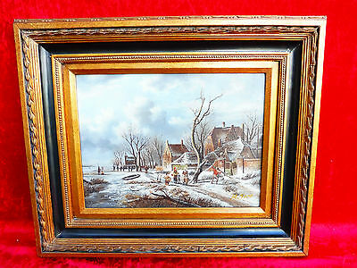 Pretty, old painting__animated WINTER LANDSCAPE__ Signed: H. TANE __