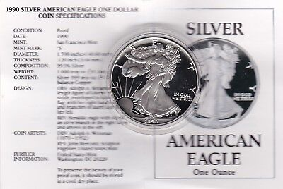 Boxed 1990S Usa Silver Proof One Ounce Eagle In Capsule With Certificate