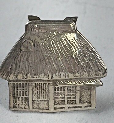 Vintage Japanese 950 Sterling Straw Roof House Place Card Holder
