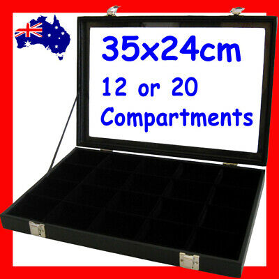 RELIABLE Glass Lid Jewellery Display Case- 12 or 20 Compartments | AUSSIE Seller