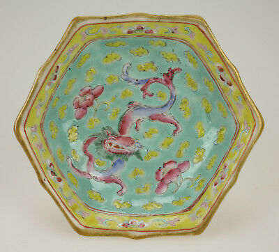 ANTIQUE 19thC CHINESE FAMILLE ROSE FOOTED PORCELAIN DISH WITH DRAGON