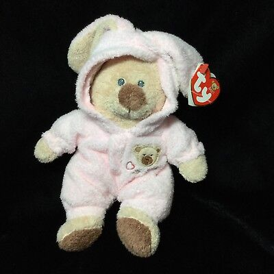 "Ty Pluffies Pink Love To Baby PJ Bear Bunny Pajamas Non Removable 8"" Plush 2005"