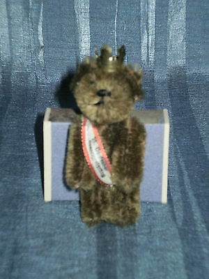 """Vintage 1965 Schuco Promo Berlin Bear 2.95"""" With Crown And Ribbon"""