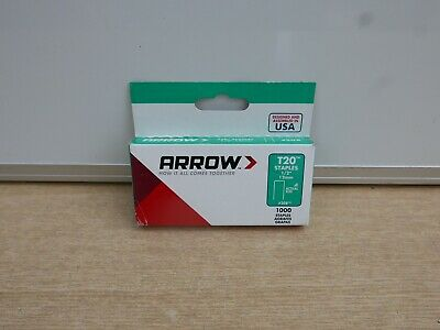 """Pack Of 1000 Arrow T-20 T20 12Mm 1/2"""" Staples For Use With T2025 Tacker"""