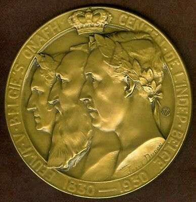 1930 Belgian Medal Issued to Honor the Three Kings of Belgium, by Josue Dupon