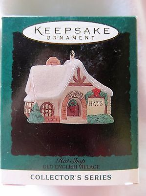 1994 Hallmark Miniature Christmas Ornament OLD ENGLISH VILLAGE HAT SHOP #7 IN