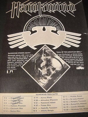 HAWKWIND preserved 1974 PROMO DISPLAY AD with Sept 6 - October 20 tour dates
