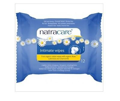12 x 12 pack NATRACARE 100% Organic Cotton Intimate Wipes ( BULK 144 wipes )