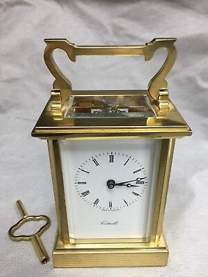 Quality England Solid Heavy Brass Hand Wind Carriage Clock