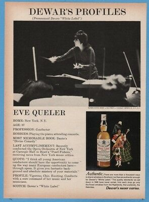 1974 Dewars White Label Whisky Eve Queler Conductor New York Orchestra Photo Ad