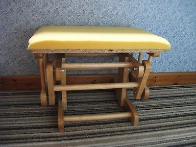 Rocking Footstool/Footrest - Strong Wooden Frame, Padded Seat, VGC