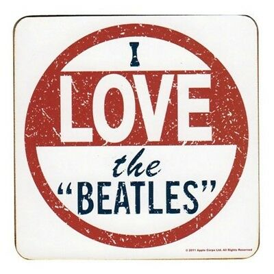 I Love The Beatles Single Cork Coaster - Drinks Gift Band Album Fan Official
