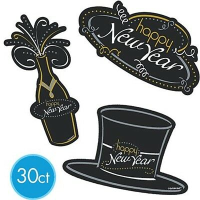 Amsacn Cutout Big Pack, Black/ Silver/ Gold - 30 Piece Happy New Year Cheers