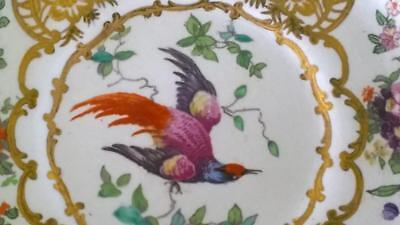 Beautiful Art Nouveau Booths 'Chelsea Bird' Opulently Hand Gilded Saucer C 1906