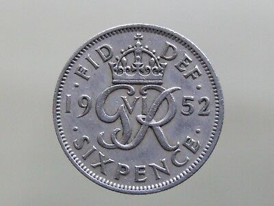 1952 Sixpence - RARE COIN - Nice Condition - FREE POSTAGE (J184)