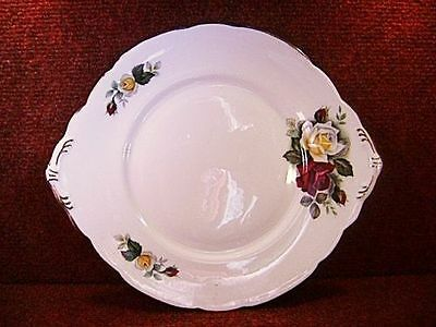 "ROYAL STAFFORD Ivory Yellow & Red Roses 10.5"" CAKE PLATE c1952 - FREE UK POSTAGE"