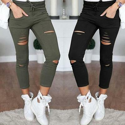 Womens High Waisted Skinny Ripped Denim Pants Slim Pencil Jeans Trousers Casual