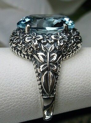 5ct *Aquamarine* Sterling Silver Butterfly Floral Filigree Ring {Made To Order}