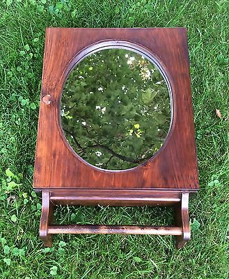 Vtg Medicine Cabinet Wall Hanging Cupboard Wood 3 Shelf Round Mirror Towel Bar
