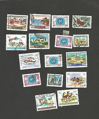 Lebanon - 16 Used Stamps