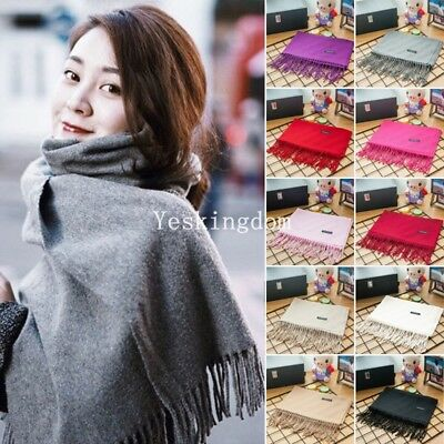 Womens Ladies Solid Warm Winter Cashmere Pashmina Scarf Wrap Shawl Tassel Stole
