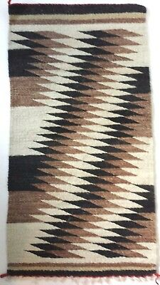 Native Southwestern Woven Rug Wall Hanging Diamond Earthy Tan Brown Black 19x36""