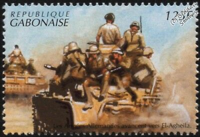 WWII 1942 North Africa: Afrika Korps Troops Ride Tanks into El Agheila Stamp