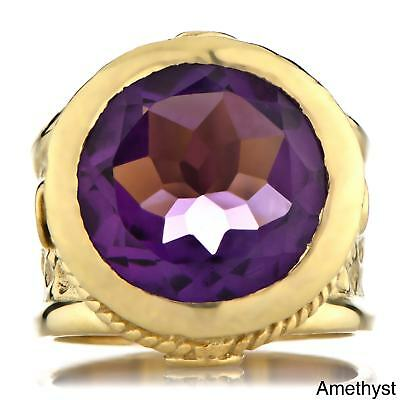Goldplated Brass Round-Cut Gemstone Victorian Style Ring