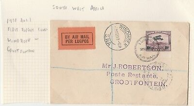 South West Africa 1931 Registered First Flight Cover Windhoek - Grootfontein