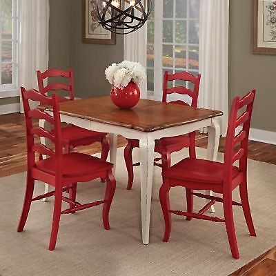 French Countryside white and oak 5-piece Dining Set by Home Styles