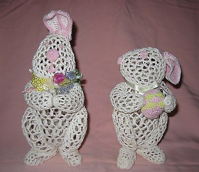 Vintage Easter Bunnies Starched Crochet Pair Bunny Rabbits