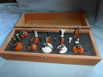 Varied~20 Piece Lot~Cmt/bosch/stanley/rockwell/ Etc/tool Router/bits~Wooden Case