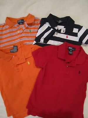 Lot Of 4 Boy'S S/s Polo Ralph Lauren Polo Shirts, Orange, Red, Blue-3/3T-Guc