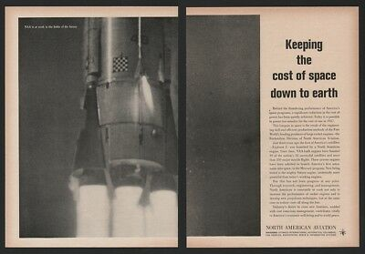1961 Missile Launch Engine Close Up AWESOME North American Aviation NAA Ad