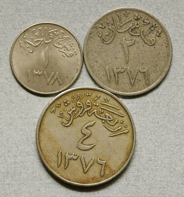 SAUDI ARABIA 1, 2, & 4 Ghirsh 1376-1378 (1956-1958) - Lot of 4 Coins, No Res.!